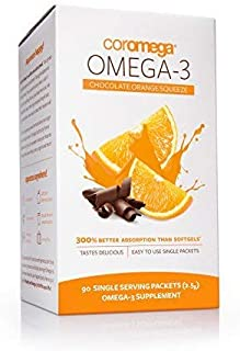 Coromega Omega-3 Supplement, Orange Flavor with a Hint of Chocolate, 90 Packets (2.5 g) by Coromega