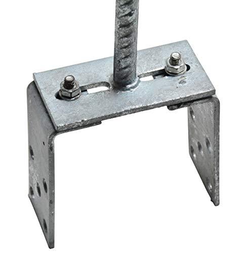 Pfostenträger verstellbar zum Einbetonieren für Pfosten 70-120 mm feuerverzinkt Zaunträger