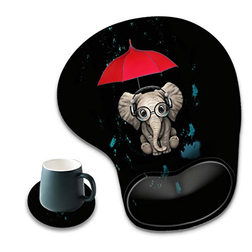 Mouse Pad with Wrist Rest, Non-Slip PU Base, Ergonomic Red Umbrella and Elephant Pattern Mouse Pad, Suitable for Work, Games, Office and Home Use + A Round Coaster