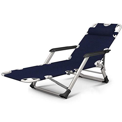 Sonnenliege,Klappbarer Liegestuhl, Metallliege Klappbarer Mittagspausenstuhl Balkon Home Freizeit Lazy Beach Büro Rückenlehne Tragbarer Stuhl (Farbe: Blau, Größe: Ohne Kissen)