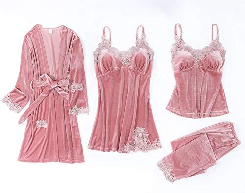 Damen Sexy Pyjama Set,Vintage Spitze Bademantel V-Ausschnitt Nachthemd Rosa Samt 4 Stück Sexy Nachtwäsche Dessous Babydoll Bademantel Geschenk Für Frauen Flitterwochen, Xs