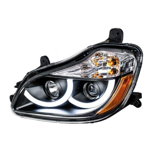United Pacific 31456 Black Projection Headlight W/LED Position Light For 2013-2021 Kenworth T680 -Driver