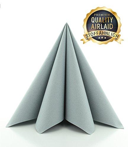Prime Guest Servietten GRAU | Premium Edition für Hochzeiten und Feiern | stoffähnlich | 50 Stück | 40 x 40 cm | ¼ Falz