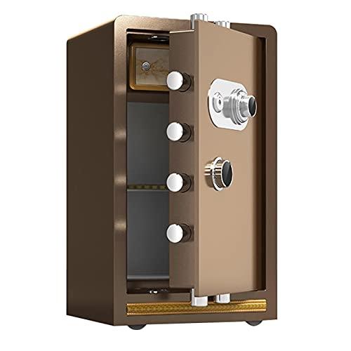 Cajas Fuertes Caja Fuerte De Acero con Ruedas, Resistente Al Fuego Y Antirrobo Seguro De Metal, Bloqueo De Código Mecánico Anti-desciframiento (Color : Brown, Size : 45x38x80cm)