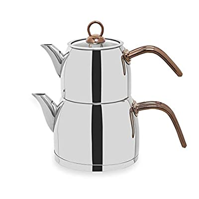 Turkish Teapot Set Stainless Steel 2.9 lt. Capacity Tea Pot Extra Thick Handles Medium Size Caydanlik (Rose-Steel)
