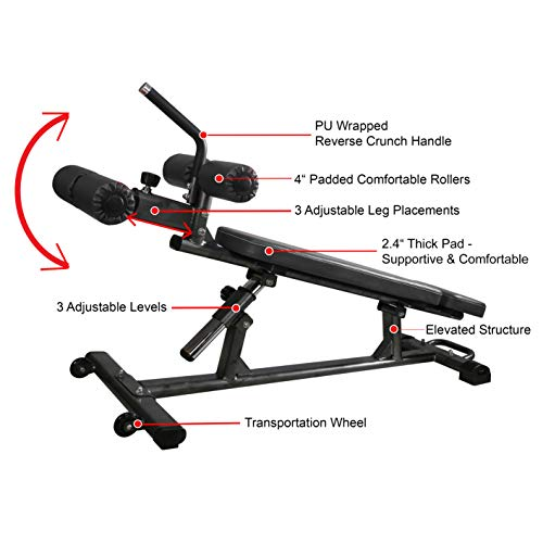 Finer Form Semi-Commercial Sit Up Bench For Decline Bench Press and Core Workouts, with Reverse Crunch Handle for Ab Exercises and 4 Adjustable Height Settings (Black)