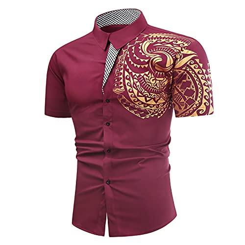Camisa de manga corta para hombre, de verano, informal, con tatuaje, bronce, con botones, camisa de manga corta, cuello alto, para ocio, ligera, corte ajustado.