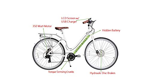 Story Electric Bike - Step-Through Design eBike, Smart 350W Electronic Motor, Hidden Lithium Battery, USB Port to Charge Phone, 7 Speed, Disc Brakes, Unisex Electric Bicycle