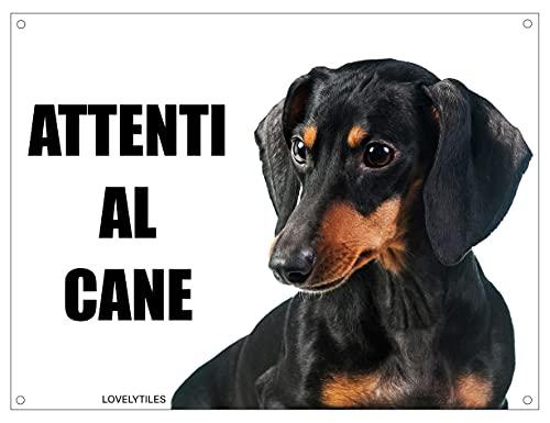 BASSOTTO attenti al cane mod 2 TARGA cartello IN METALLO (15X20)