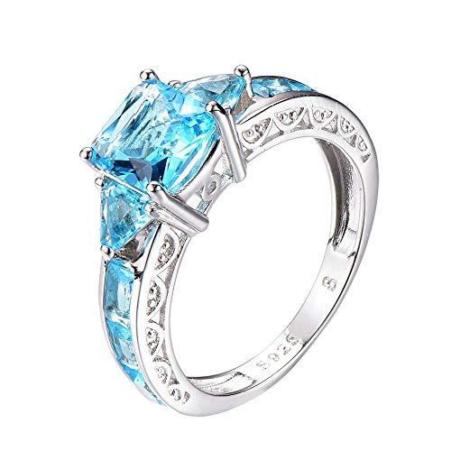 Purmy Mujeres Anillo Plata de Ley 925 Azul Claro Zirconia Cúbica Clara Cristal para Boda Tamaño 17