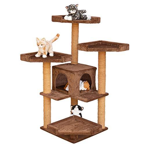 """VOSS.PET Katzenkratzbaum - Hochwertiger Kletterbaum für Katzen """"Sylvester Mokka mit Einer großen komfortablen Katzenhöhle, Höhe: 114 cm, mit robustem Kokosseil"""