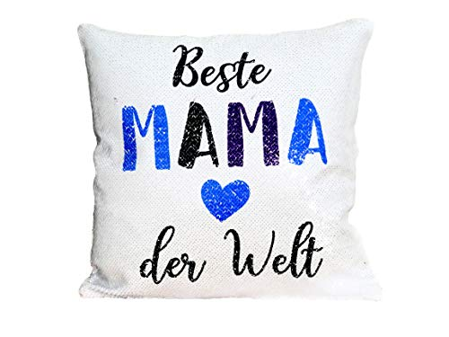 shirtinator Kuschel-Kissen Wendepailletten inkl. Füllung mit Spruch Beste Mama der Welt I Geschenk-e Geburtstag Weihnachten Freundin Deko Silber