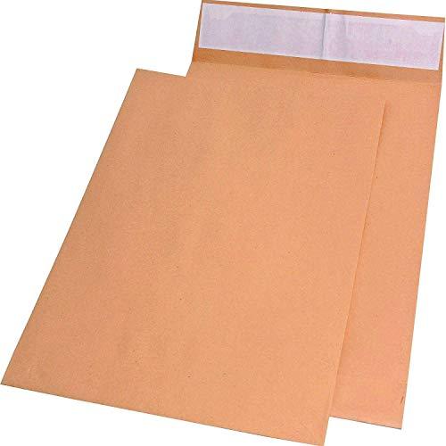 Elepa - rössler kuvert 30021434 Faltentaschen E4 ohne Fenster mit 40 mm-Falte und Klotzboden, 140 g/qm, 100 Stück, braun