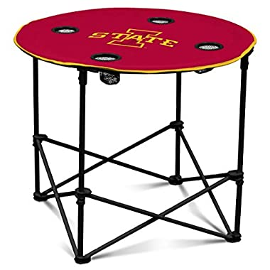 Iowa State Cyclones Collapsible Round Table with 4 Cup Holders and Carry Bag