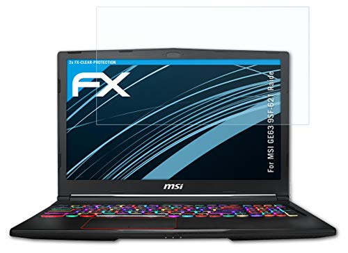 atFolix Schutzfolie kompatibel mit MSI GE63 9SF-621 Raide Folie, ultraklare FX Bildschirmschutzfolie (2X)