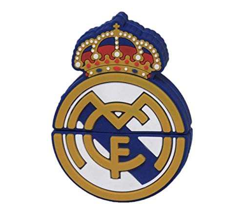 Real Madrid- Pendrive de rubber con forma de escudo, Color blanco, 8gb (CYP Imports USB-01-RM)