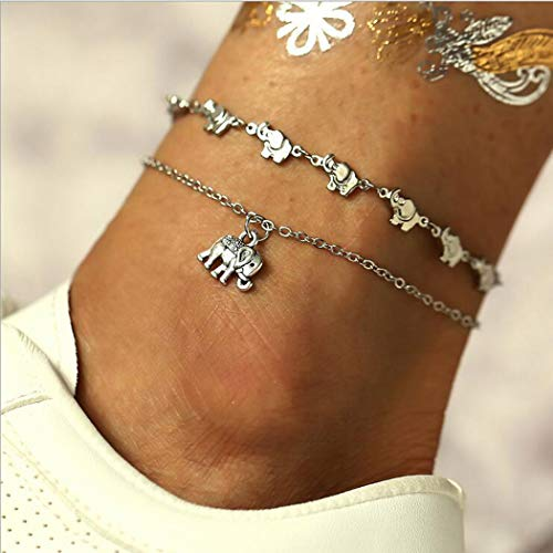 Handcess Boho Double Layered Anklet Silver Elephant Ankle Bracelets Beach Foot Chain Jewelry for Women and Girls