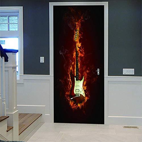 Kreativität 3D Tür Aufkleber Brennende Geige Für Innentür Bürotür Wasserdicht Abnehmbare Selbstklebende Zimmertür Dekoration