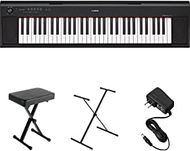 Yamaha NP12 61-Key Lightweight Portable Keyboard, Black, with Stand, Bench, and Power Supply