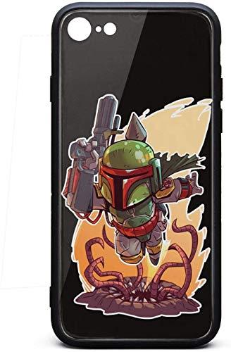 Pretty Cell Funda para iPhone 6 Plus/iPhone 6S Plus Mandalorian-Knight-Action-Design- Unisex de vidrio templado duro negro antiarañazos, goma TPU parachoques accesorios cubierta trasera