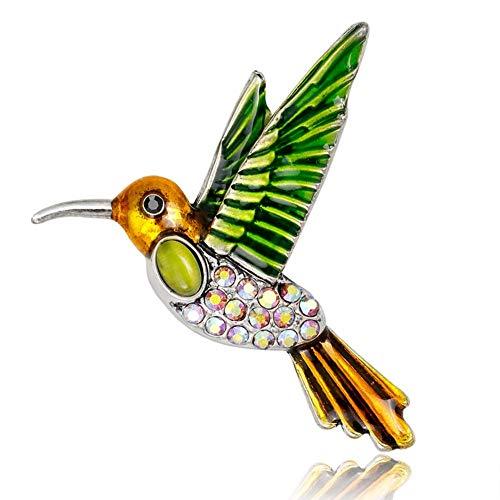 Mode Colibri broche geschikt voor high-end pak accessoires, temperament display prachtige decoratie, party, toespraken. groen