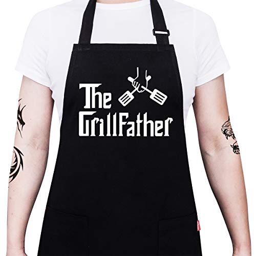 "ALIPOBO BBQ Apron Funny Grill Aprons for Men Dad - The Grillfather - Men's Grilling Apron with 2 Pockets, Adjustable Neck Strap and 40"" Long Ties - Black"