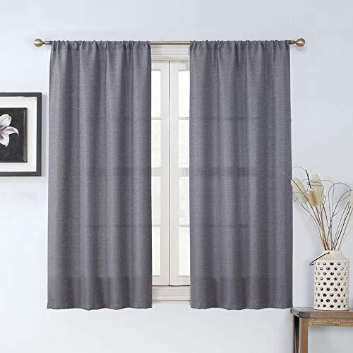 "Rama Rose Soft Burlap Look Pole Pocket Semi Sheer Window Curtain Panel for Living Room 37"" W X 63"" L, 1 Panel,Grey"