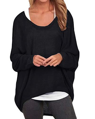 ZANZEA Damen Lose Asymmetrisch Jumper Sweatshirt Pullover Bluse Oberteile Oversize Tops Schwarz EU 46/Etikettgröße XL
