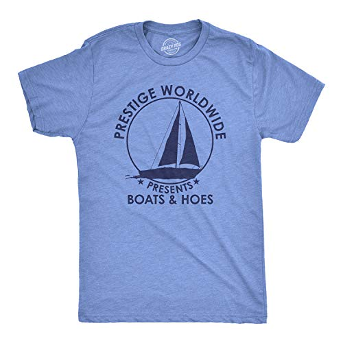 Crazy Dog T-Shirts Mens Prestige Worldwide T Shirt Funny Cool Boats and Hoes Graphic Humor Tee (Heather Light Blue) - L