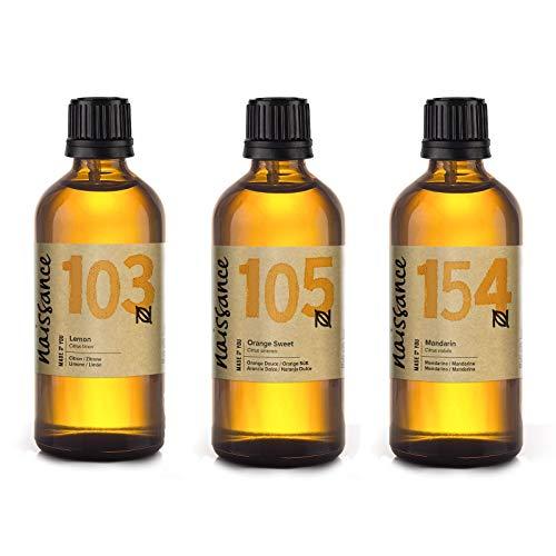 Naissance Trio Set Zitrusöle - Zitrone, Orange & Mandarine - reine ätherische Öle je 100ml