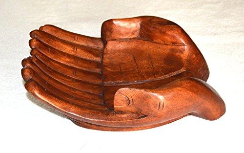 Artigianato svuota tasche doppia mano in legno 18 cm circa