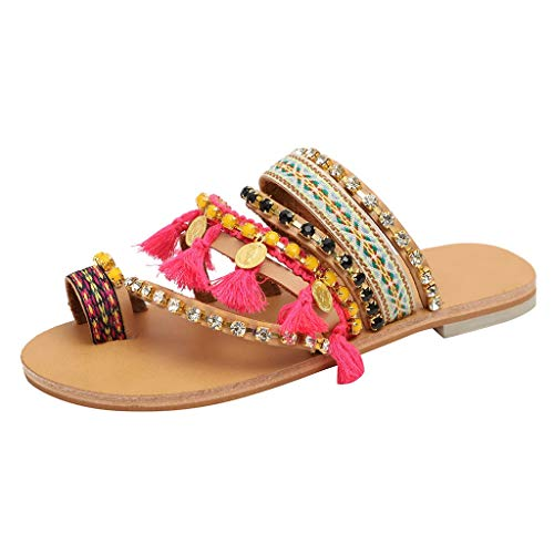 PinkLu Sandalen Damen Schuhe Zehentrenner Römersandalen Ethno Plateau Sandalen Gewebte Sommerschuhe Fransen Pantoffeln Perlenkette Schlappen