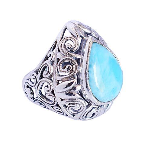 Ravishing Impressions Jewellery Mujer Unisex 0.925 plata de ley pera Blue Larimar
