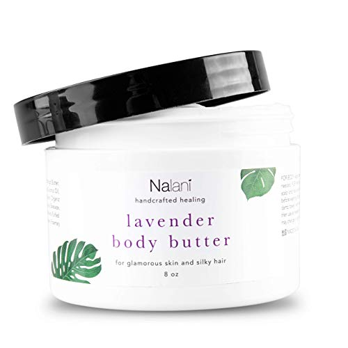 Nalani Organic Shea Body Butter Lotion: 2-in-1 Moisturizing Cream for Skin and Hair Care - All Natural Moisturizer and Hair Mask with Natural Mango Butter, Coconut Oil, and Raw Honey - Lavender, 8 Oz