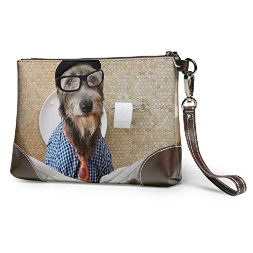 XCNGG Weiche wasserdichte Druck Wristlet Brieftasche Hund lesen Zeitung oder Magazin Clutch Make-up-Tasche mit Reißverschluss für Frauen Mädchen