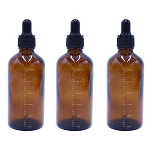 3 botes de cristal vacíos de color ambar, recargables, con gotero graduado, para aceite esencial, cosméticos y líquidos, recipiente con gotero de pipeta de vidrio