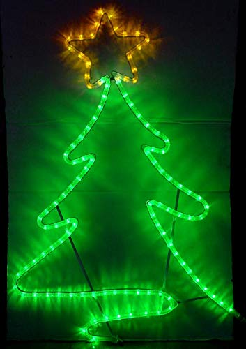 LED Christmas Tree 2D Shaped Festival Decoration Light 120V Waterproof Hanging Led String Light for Home Garden Outdoor, Green & Yellow Color, 1 Pack