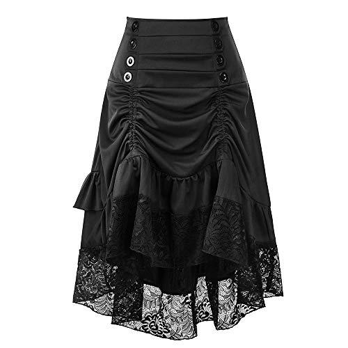 Amphia - Damen Herbst und Winter Retro Nähen Spitzentasche Hüftknopf Rock - Frauen Herbst und Winter Retro Stitching Lace Bag Hip Button Rock(Schwarz,XL)