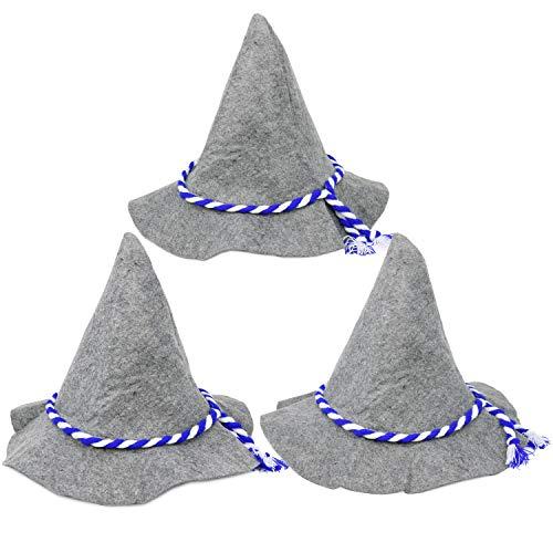 com-four® 3X Seppelhut, Sombrero de Fieltro Tradicional para Oktoberfest, Carnaval o Mardi Gras, Sombrero Tradicional Hecho de Fieltro con cordón Azul/Blanco (03 Piezas - Seppelhut)