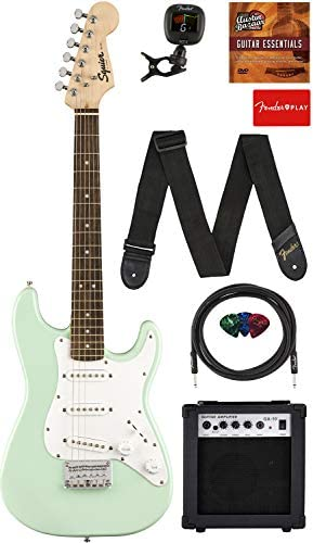 Fender Squier 3 4 Size Kids Mini Strat Electric Guitar Surf Green Learn to Play Bundle w Amp product image