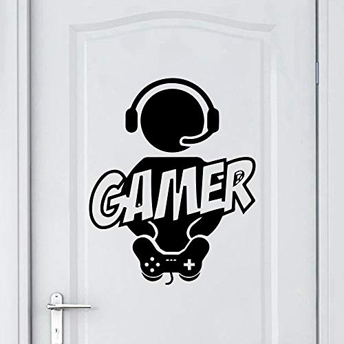 MINGH-Carved Gamer Wall Stickers Vinyl Mural Wallpaper For Kids Room Decoration Wallstickers Decals Gaming Poster Decor Door Sticker 43x53cm