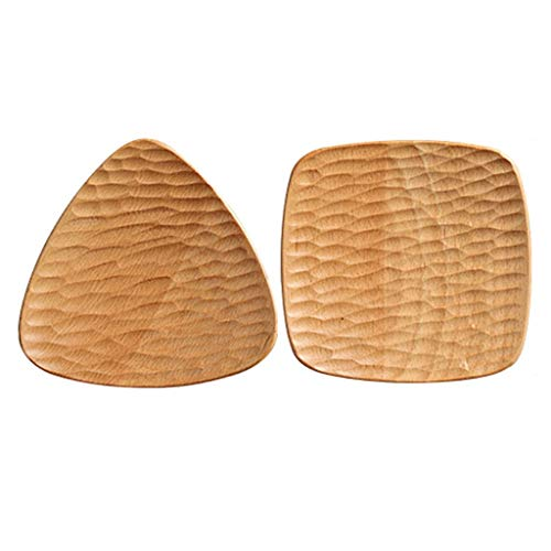 Kitchen Dinnerware Plates Natural Elm Japanese Style Square Plate, Tortoiseshell Wood Plate Creative Cake Snack Wood Plate Snack Nut Pan Triangle 5 Inch Tray 2pcs Serving Plates Dining Party Pasta Sal