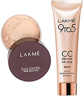 Lakme Rose Face Powder, Soft Pink, 40g & Lakmé Complexion Care Face Cream, Bronze, 9g
