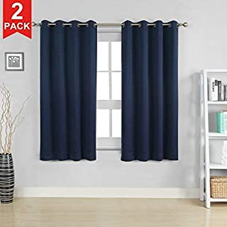 Moonen 99% Blackout Curtain for Bedroom Thermal Insulated Noise Proof Microfiber Heavy Silky Textured Darkening Grommet Top Drapes (2 Panels Set, Navy Blue, 52x63 Inches)