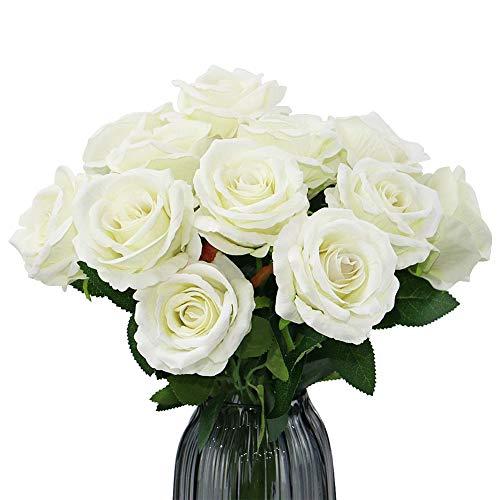 12 Piezas Flores Rosas Artificiales, Flores Artificiales, para Manualidades, Ramos de Novia, centros de Mesa, Despedidas de Soltera y Decoración del Hogar