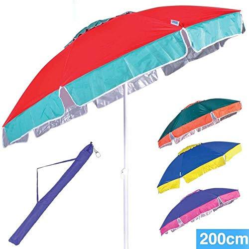 BAKAJI Ombrellone da Mare Spiaggia Giardino con Palo in Acciaio Reclinabile e Rivestimento in Tessuto Anti UV Colore Rosa con Pattern Bianco Diametro 200 cm