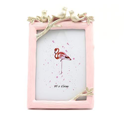 Saidan Portafotos Marco de Fotos Rosa Vertical con Golondrinas Regalo Bautizo Comunión (10 x 15 cm)