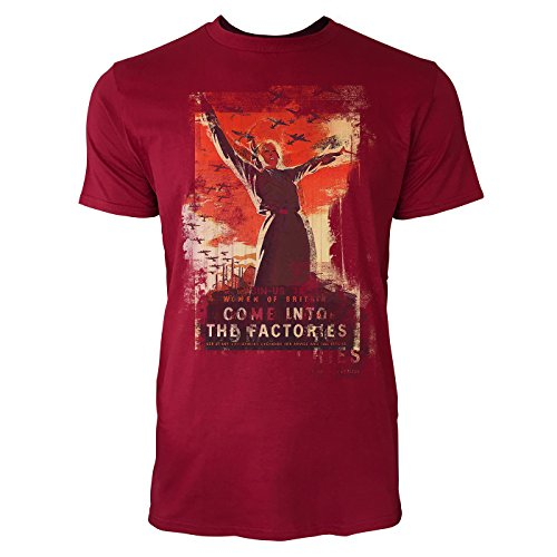 Paul Sinus Art Come Into The Factories Herren T-Shirts Stilvolles dunkelrotes Cooles Fun Shirt mit Tollen Aufdruck