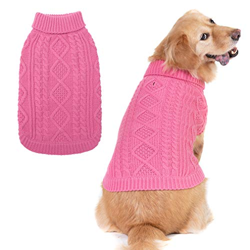 Turtleneck Knitted Dog Sweater - Classic Cable Knit Dog Jumper Coat, Warm Pet Winter Clothes Outfits for Dogs Cats in Cold Season