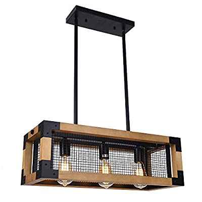 Lingkai Industrial Kitchen Island Lighting 3-Light Wood Chandelier Retro Ceiling Pendant Hanging Light Fixture Square Wood Frame Metal Iron Net Lamp Caged Light